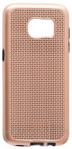 Чехол накладка Ginzzu Carbon X1 Samsung S7 Edge G935 Золотой