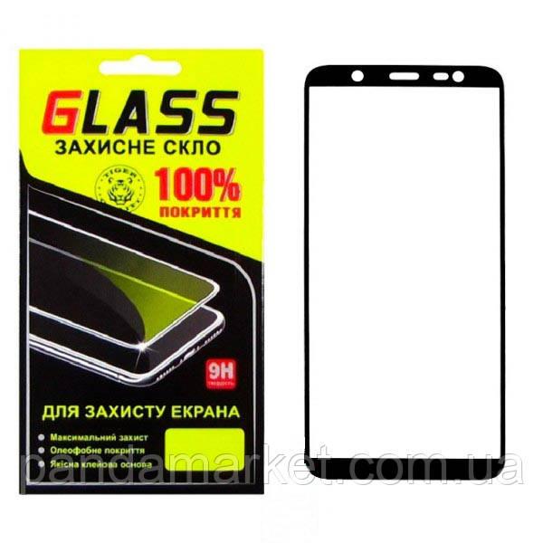 Захисне скло 2.5D Samsung J8 (2018) J810 Чорний Glass