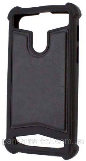 Универсальный чехол накладка силикон-кожа 3.5-4.0 Черный