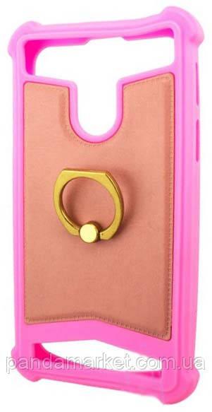 Універсальний чохол накладка силікон-шкіра з кільцем 3.5-4.0 Рожевий