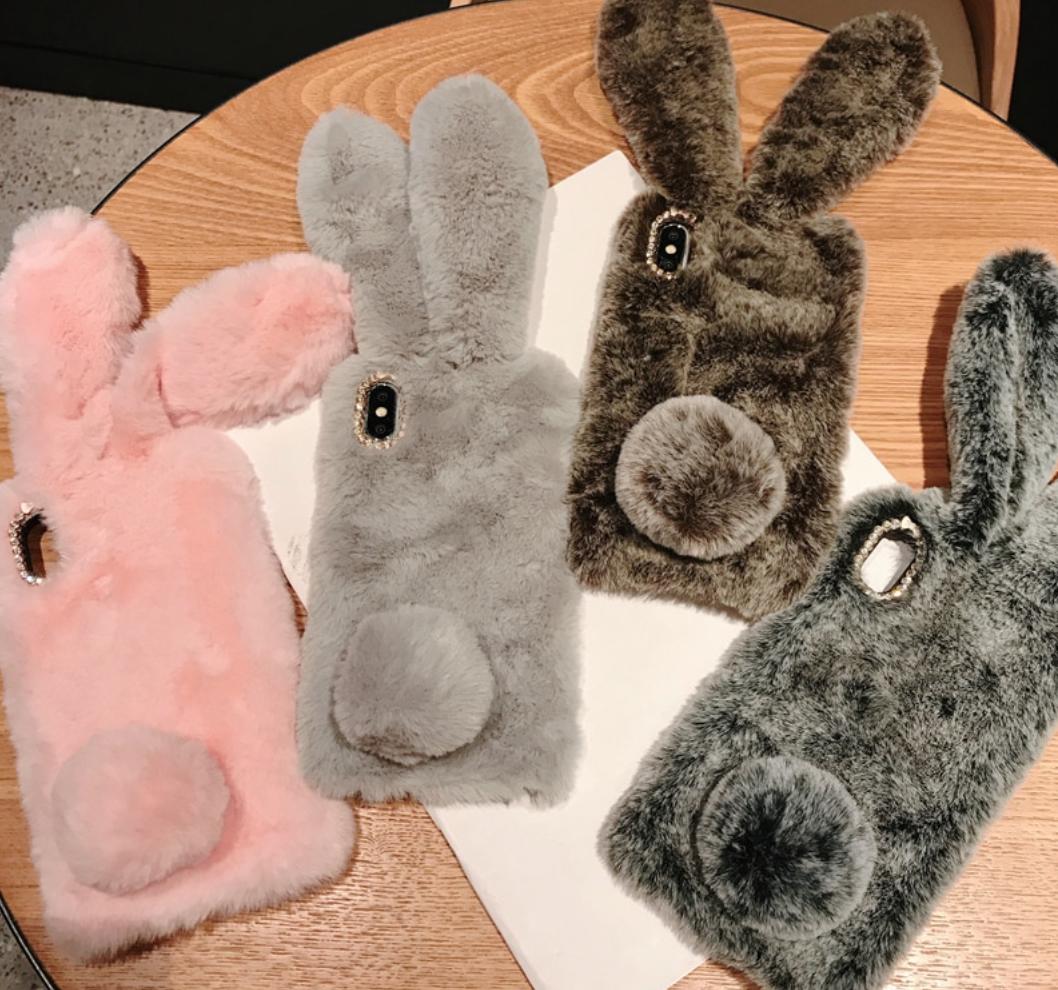 Чехол кролик плюшевый с ушками для Huawei Honor 8X