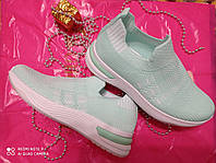 Зеленые женские молодежные кроссовки текстиль 36-41
