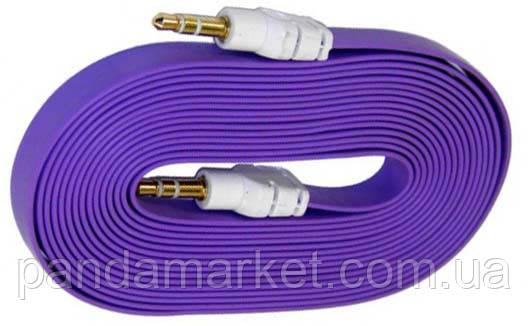 AUX кабель 3.5mm M/M плоский 2m Фиолетовый