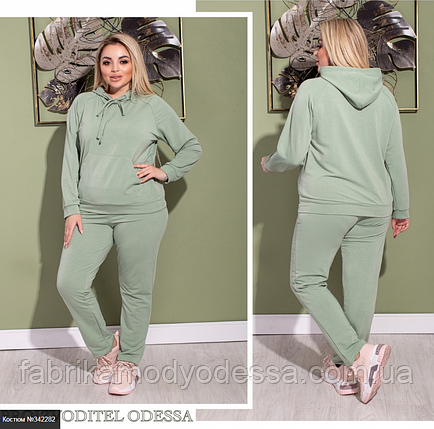 Женский спортивный костюм цвет оливка батал Размеры: 48-50, 52-54, 56-60, фото 2