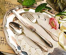 Англійські посріблені столові прилади для одного, ніж, вилка і ложка, сріблення, Англія, вінтаж