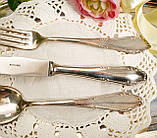 Англійські посріблені столові прилади для одного, ніж, вилка і ложка, сріблення, Англія, вінтаж, фото 4