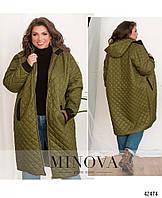 Длинная куртка большого размера, стеганая демисезонная куртка, куртка свободного кроя