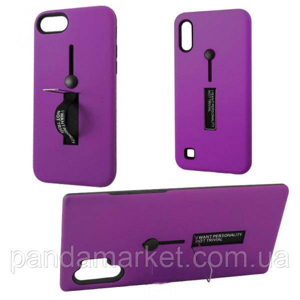 Чехол противоударный Metal Kickstand Soft Touch с держателем Apple iPhone X, XS Фиолетовый