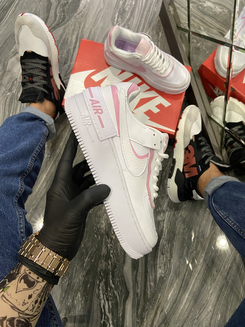 Женские кроссовки Nike Air Force 1 Shadow Blue Pink (Белый). [Размеры в наличии: 36,37,38,39,40]