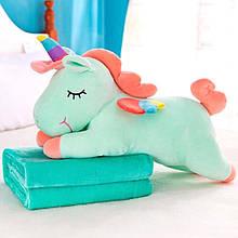 ✅ Плед іграшка подушка 3в1 м'ятний єдиноріг Іграшка дитячий плед Іграшки-Подушки М'яка іграшка 150х120