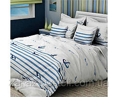 Постельное белье евро бязь люкс 3021 бело-голубой 70х70 (р) навол.2шт, 200х240-1шт подод, 220х240-1шт прост.