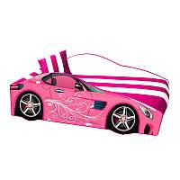 Детская кровать-машина Элит ЦВЕТЫ E6 Розовый сп.м 1500*700 мм.+ Подъем. мех. Кровать машина для девочки