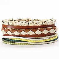 Браслет из натуральной кожи с бусинами Мужской (женский) кожаный браслет многослойный плетеный, фото 1