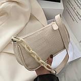 Женская сумочка багет на пластиковой цепочке ремешке рептилия бежевая молочная белая, фото 4