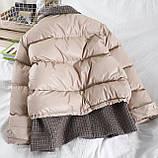 Коротка жіноча куртка з капюшоном мерехтливої кольору 42, фото 7