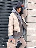 Коротка жіноча куртка з капюшоном мерехтливої кольору 42, фото 4