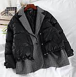 Коротка жіноча куртка з капюшоном мерехтливої кольору 42, фото 2