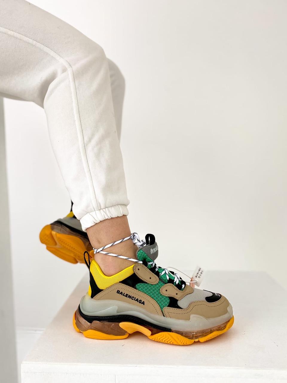 Кросівки жіночі Balenciaga Triple S Green-Yellow зелений жовтий