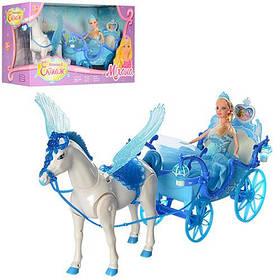 Карета 227A  55cм,лошадь с крыльями(ходит), кукла, 28см,свет,звук,на бат-ке,в кор-ке,56-19-30см