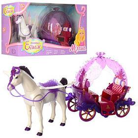 Карета 234B  лошадь-ходит, звук, с крыльями, 57см, на бат-ке, в кор-ке, 60-33-20см