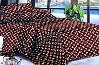 Двуспальное постельное белье комплект Louis Vuitton коричневое