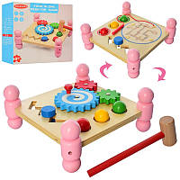 Деревянная игрушка Центр развивающий шестеренки, стучалка