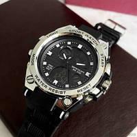 Красивые кварцевые мужские часы Sanda 739 Black-Silver оригинал