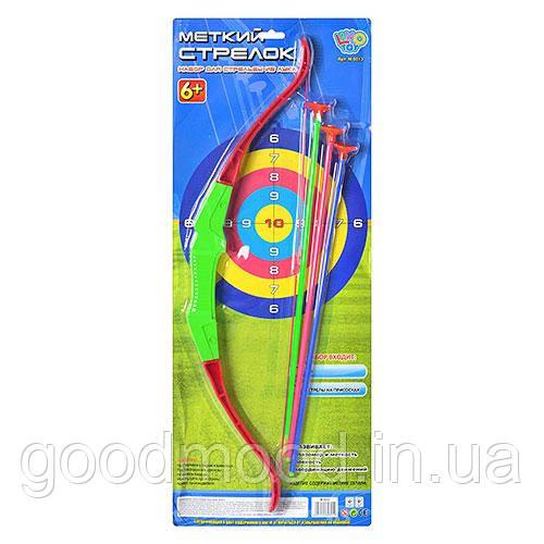 Лук M 0013   58см, стрелы на присосках 3шт 42см, на листе, 64-26см