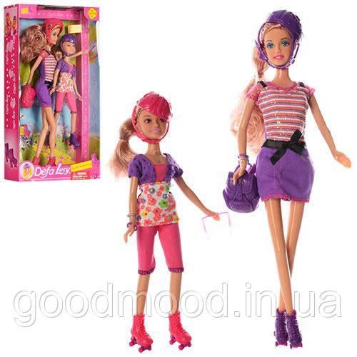 Лялька DEFA 8130 2шт (30см, 22см), рюкзак, окуляри, 2 кольори, в кор-ке, 20-34,5-6см