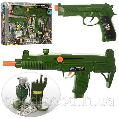 Набор военного M014   автомат38см, пистолет18см, граната,рация,компас,трещотка,в кор,42-28-4см