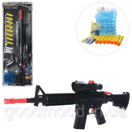 Автомат M16-2   66см,водяные пули, мягкие пули-присоски8шт,на листе,27-75-5см