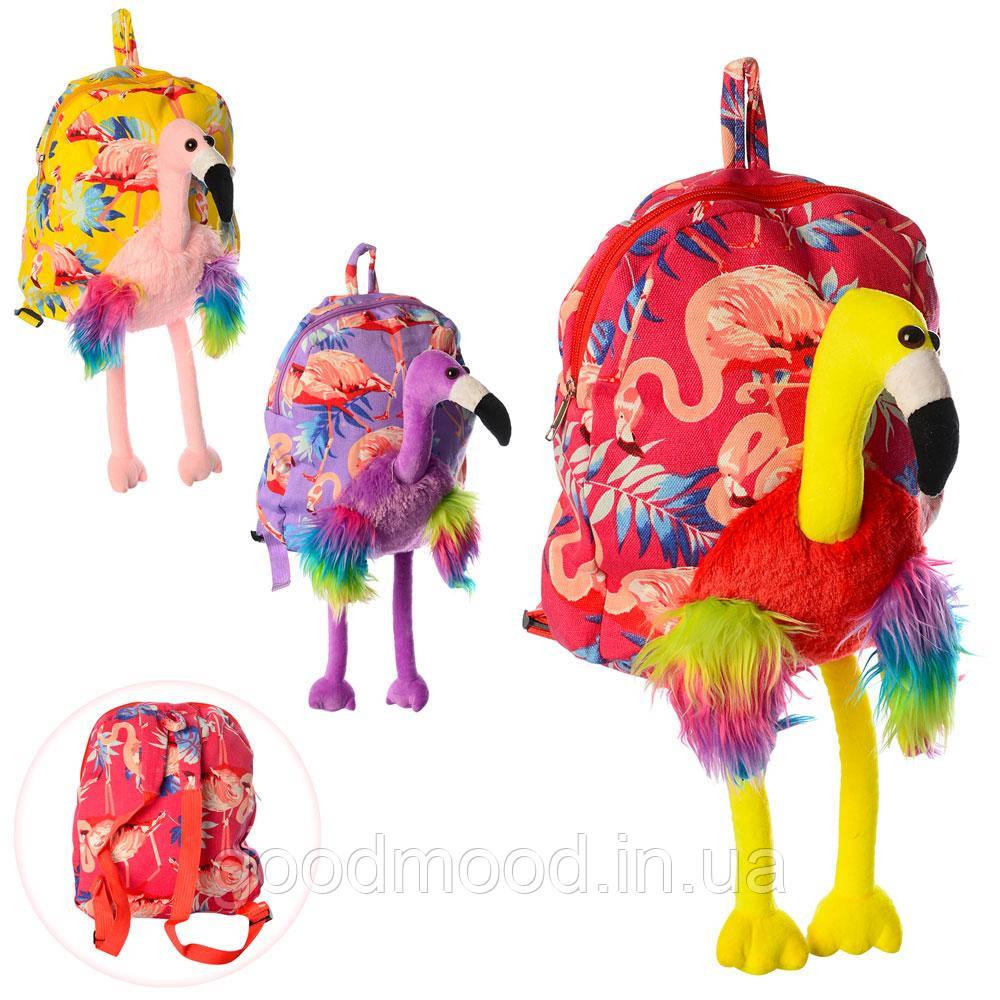 Рюкзак MP 1871   фламинго, размер средн 30-25-6см,застеж-молн,мягк,микс цв, вкульке,32-25-6см