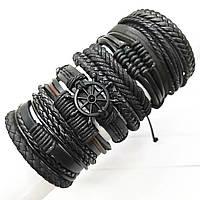 Черный широкий браслет из натуральной кожи в морском стиле Мужской кожаный браслет многослойный плетеный, фото 1
