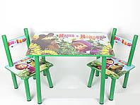 Дитячий дерев'яний столик зі стільчиками з героями мультфільму Маша і Ведмідь