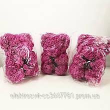 Лучший подарок: мишка из искусственных 3D роз 25 см. Цвет: фиолетовый