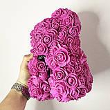 Лучший подарок: мишка из искусственных 3D роз 25 см. Цвет: фиолетовый, фото 2