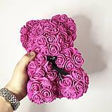 Лучший подарок: мишка из искусственных 3D роз 25 см. Цвет: фиолетовый, фото 3