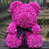 Лучший подарок: мишка из искусственных 3D роз 25 см. Цвет: фиолетовый, фото 4