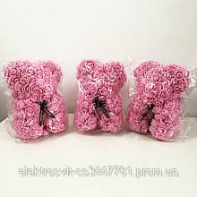 Лучший подарок: мишка из искусственных 3D роз 25 см. Цвет: розовый