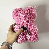 Лучший подарок: мишка из искусственных 3D роз 25 см. Цвет: розовый, фото 2