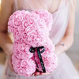 Лучший подарок: мишка из искусственных 3D роз 25 см. Цвет: розовый, фото 3
