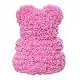 Лучший подарок: мишка из искусственных 3D роз 25 см. Цвет: розовый, фото 5