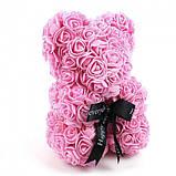 Лучший подарок: мишка из искусственных 3D роз 25 см. Цвет: розовый, фото 7