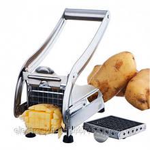 Ручная картофелерезка металлическая машинка Potato Chipper для нарезки картофеля фри UN12-15