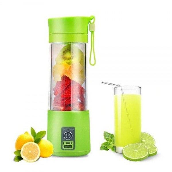 Портативный фитнес блендер USB Smart Juice Cup Fruits 4 ножа green