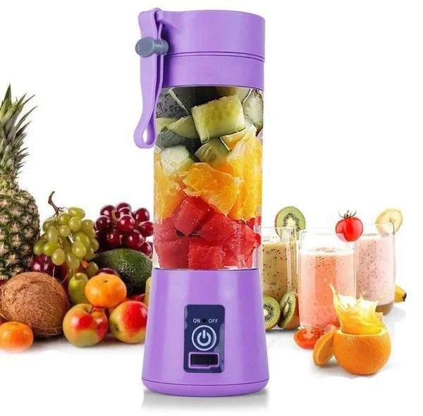 Портативный фитнес блендер USB Smart Juice Cup Fruits 4 ножа purple