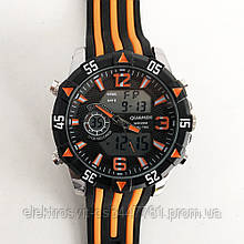 Часы наручные QUAMER, dual time, ремешок каучук. Цвет: оранжевый