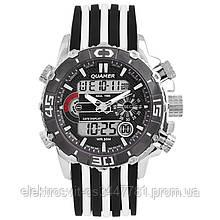 Часы наручные QUAMER ремешок каучук, dual time. Цвет: с белыми вставками