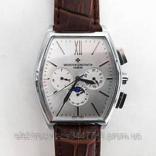 Часы наручные Vacheron Constantin (реплика). Цвет: коричневый ремень, белый циф.