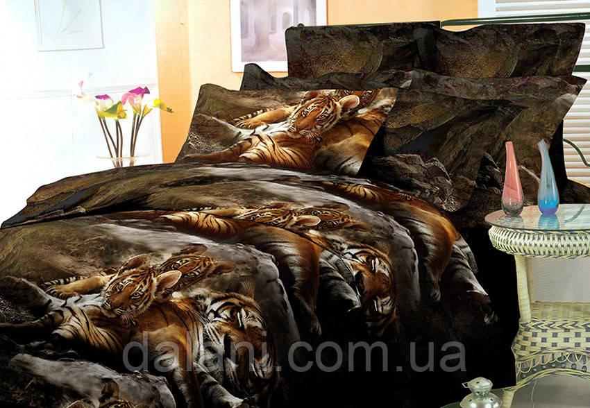 Семейный комплект постельного белья из поликоттона 3D (с двумя пододеяльниками)
